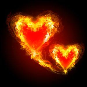 burning hearts fireworks