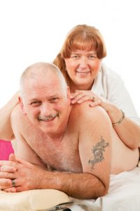 Mature couple photo, woman massaging man