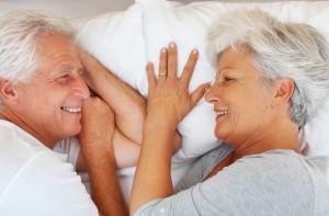 Senior couple gazing into each other's eyes